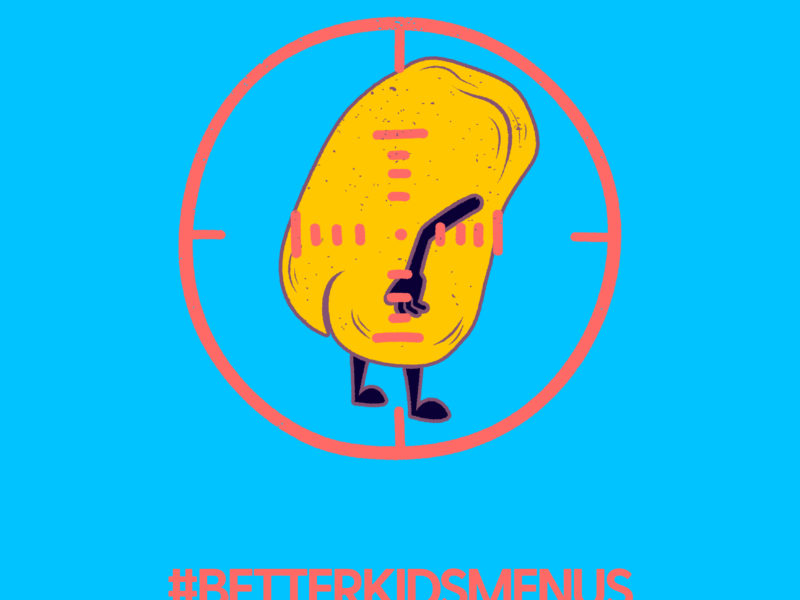 Poster with a blue background featuring a nugget with arms and legs in the centre of a tageting circle. Above the nugget are the words We're In! in pink and below the nugget are the words #betterkidsmenus #deathtonuggets and www.deathtonuggets.com.au