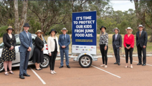 Cat Walker (parent rep) and public health CEOs pose for a photo for the campaign run by Cancer Council WA