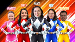 The extended Parents' Voice team as power rangers