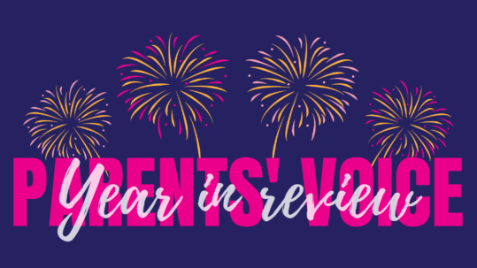 Parents' Voice end of year review graphic - text with fireworks